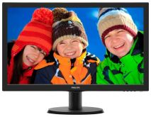 "Монитор Philips 23.6"" 243V5LHSB (00/01) черный TN+film LED 5ms 16:9 DVI HDMI матовая 250cd 1920x1080 D-Sub FHD 3.66кг"