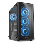 Корпус Sharkoon TG5 Blue черный, без БП, ATX