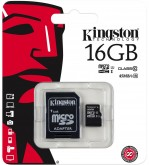 Карта памяти Kingston microSDHC 16Gb Class10 UHS-I с адаптером (SDC10G2/16GB)